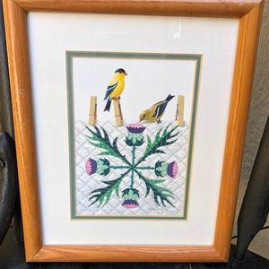 Gold Finches on Thistles Wall Hanging Wall Decor